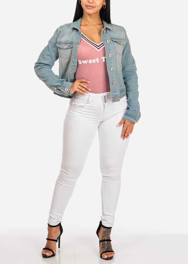 Stylish Light Wash Denim Jacket