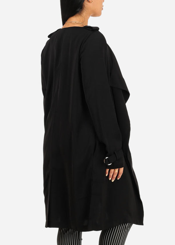 Black 2 Pocket Side Slits Cardigan