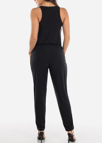 Image of Zip Up Front Sleeveless Black Jumpsuit