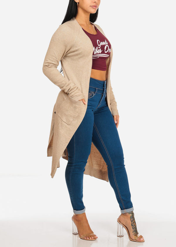 Cozy Open Front Oatmeal Maxi Cardigan