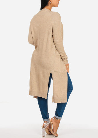 Image of Cozy Open Front Oatmeal Maxi Cardigan