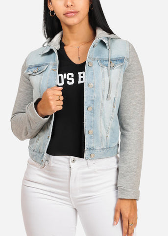 Cute Light Wash Jersey Denim Jacket
