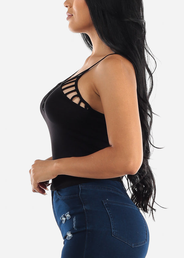 Black Spaghetti Strap Crop Top