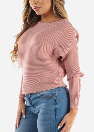 Pink Dolman Boat Neck Sweater