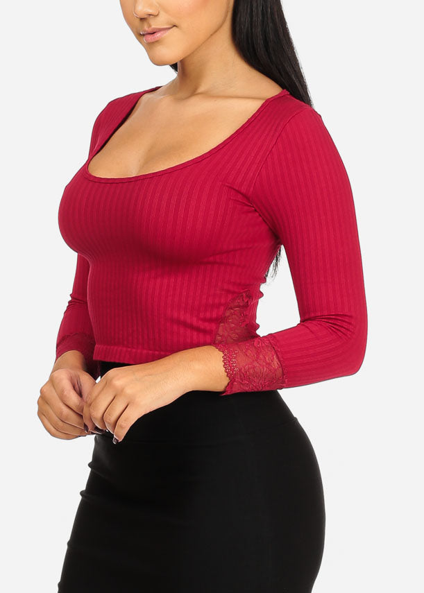 One Size Red Ribbed Crop Top