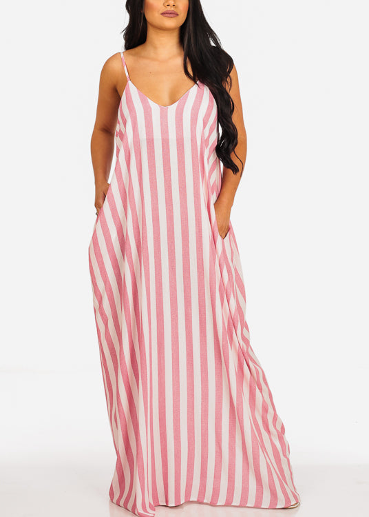 Lightweight White And Pink Stripe Flowy Maxi Dress
