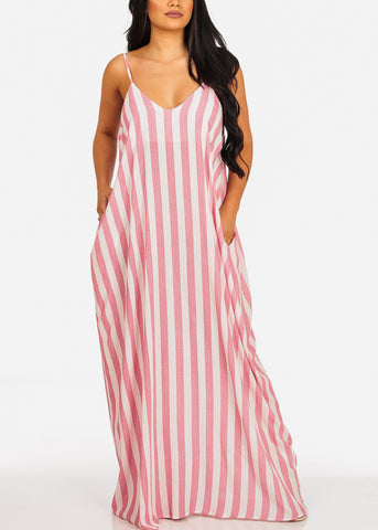 Image of Lightweight White And Pink Stripe Flowy Maxi Dress