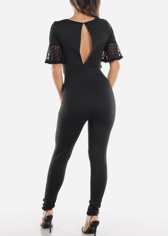 Image of Black Mesh Detail Jumpsuit