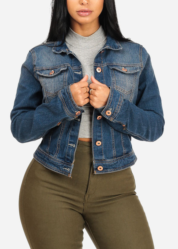 Stylish Med Wash Denim Jacket