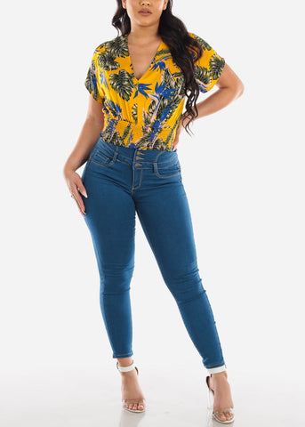 Image of Sexy Stylish Cute Yellow Tropical Floral Print Shirring Waist Crop Top For Women Ladies Junior