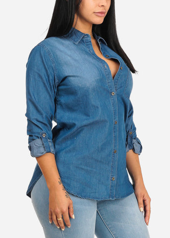 Image of Med Wash Button Up Denim Blouse