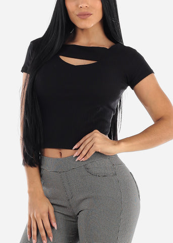 Off Shoulder Ribbed Black Top