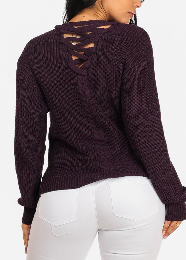 Basic Knitted Plum Sweater Top