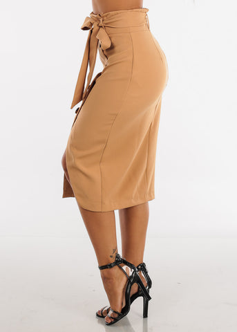 Sexy Stylish High Waisted Lightweight Mocha Beige Khaki Midi Skirt With Tie Belt Office Business Career Wear For Women Ladies Junior