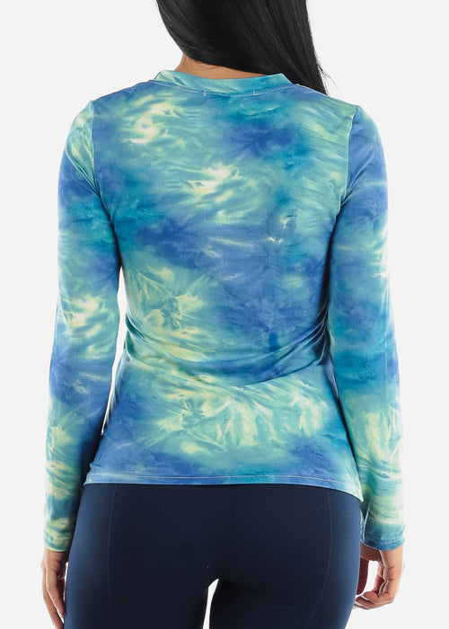 Blue Slip On Tie Dye Top