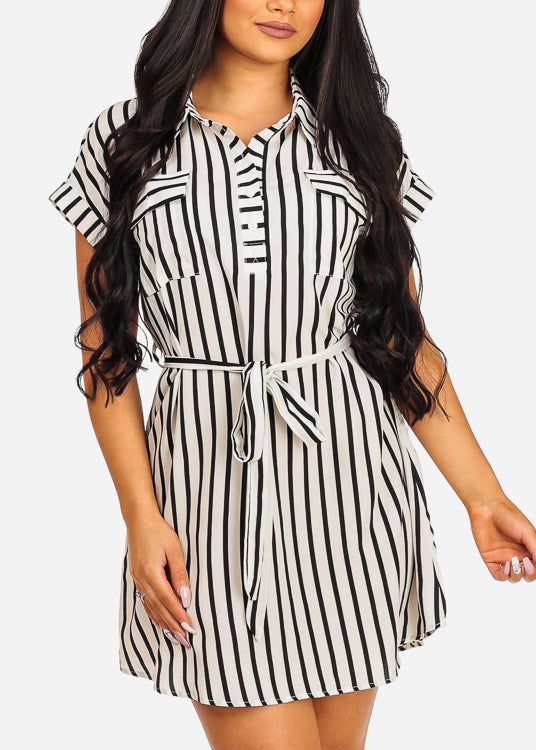 Lightweight Short Sleeve White Stripe Dress W Belt