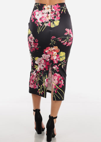 Image of Black Floral High Waist Pencil Skirt