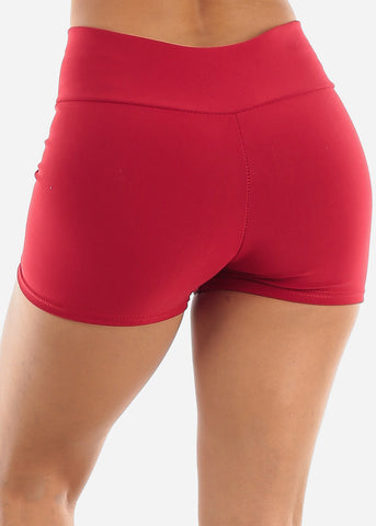 Image of Red High Rise Shorts