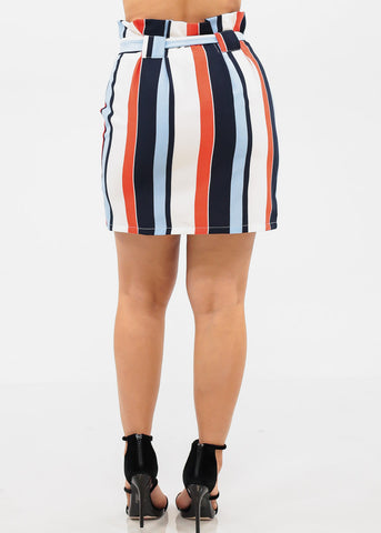 High Rise Tie Belt Stripe Skirt