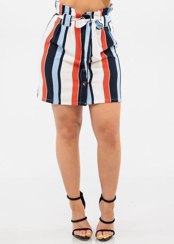 Women's Junior Ladies Must Have Sexy Stylish High Rise Paperbag Button Up Stripe Mini Skirt With Tie Belt