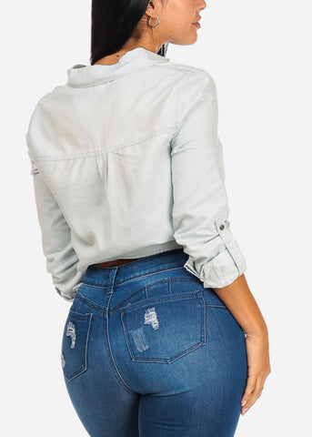 Image of Light wash Button Up Denim Top
