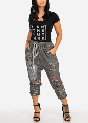 Graphic High Rise Distressed Capri Joggers