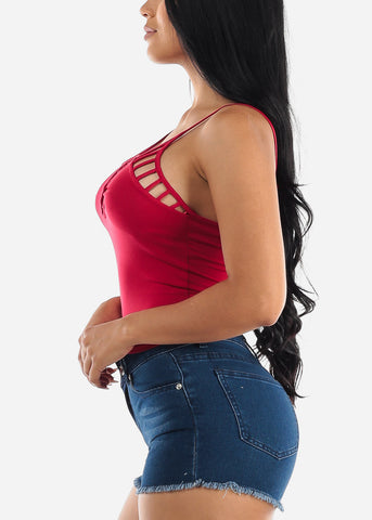 Red Spaghetti Strap Crop Top