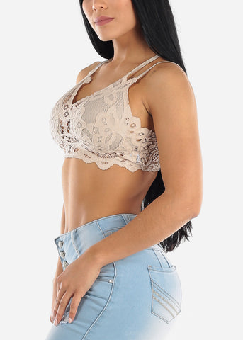Image of Floral Lace Tan Bralette