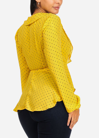 Yellow Polka Dot Wrap Front Chiffon Top