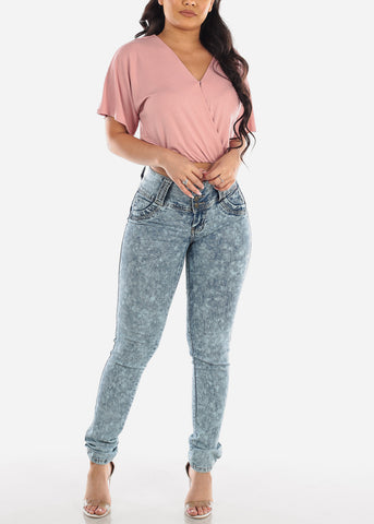 Sexy Cute Casual Stylish Wrap Front V Neck Loose Fit Mauve Crop Top