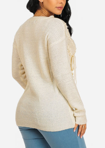 Image of Cozy Ivory Knitted Tunic