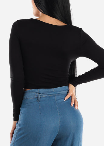 Long Sleeve Wrap Front Black Crop Top