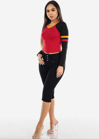 Long Sleeve Red Colorblock Top