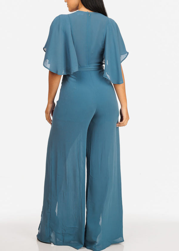 L'ATISTE Stylish Belted Blue Jumpsuit