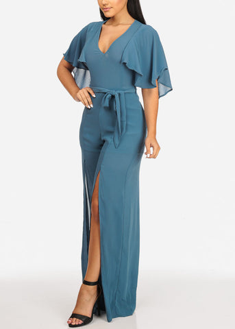 Image of L'ATISTE Stylish Belted Blue Jumpsuit