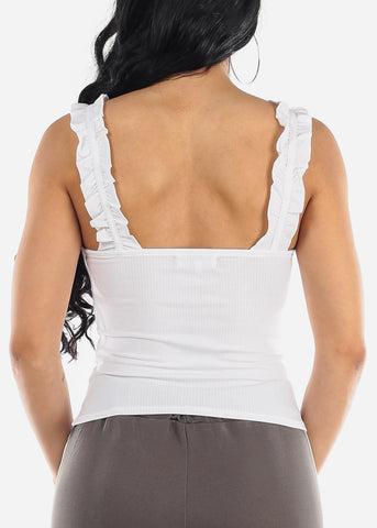 Image of Ruffled Sleeves White Crop Top