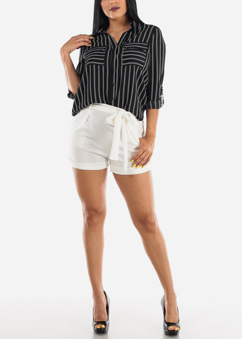 Image of Button Up Stripe Black Shirt