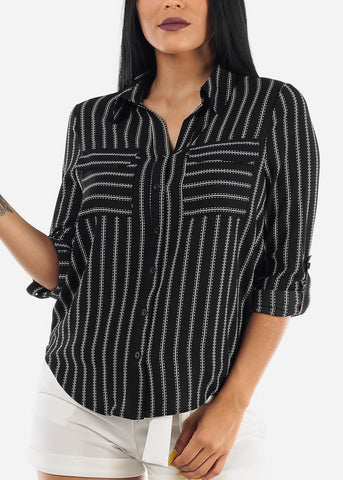 Button Up Stripe Black Shirt