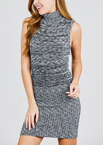 Image of Heather Black Turtle Neck Sweater Dress