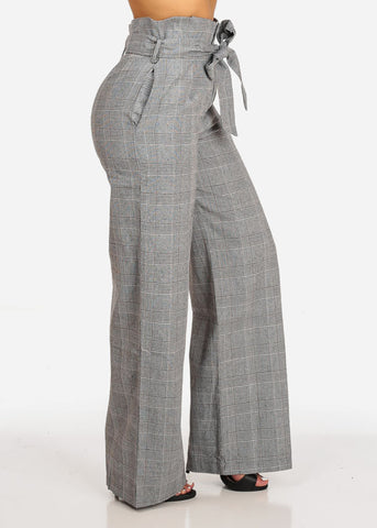 Belted High Rise Houndstooth Print Wide Leg Pant