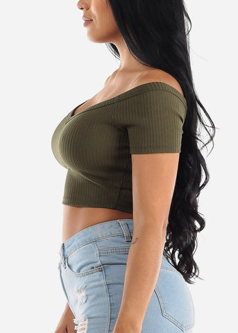 Image of Off Shoulder Olive Crop Top