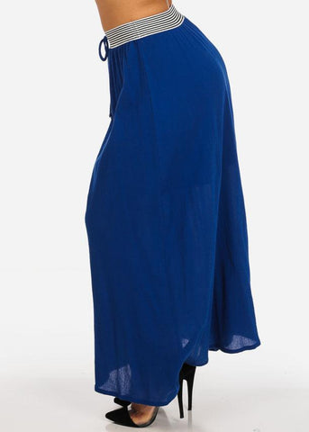 Stylish Lightweight Linen Gauze Pleathed Elastic Waist Royal Blue Long Maxi Skirt
