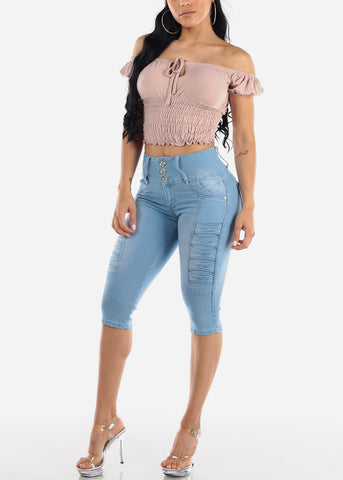 Casual Off Shoulder Rose Crop Top