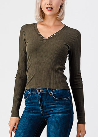 Image of V-Neck Snap Button Olive Top