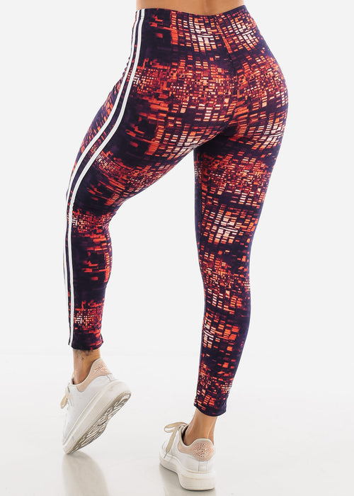 Stripe Trim Printed Leggings