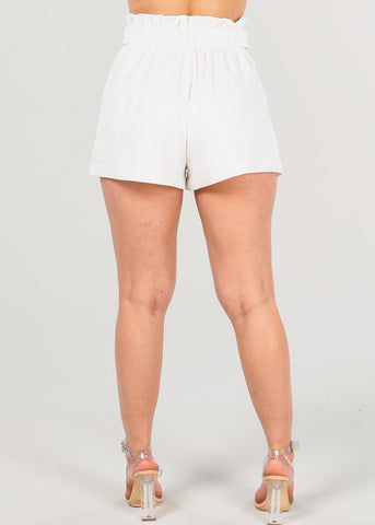 Image of High Rise Dressy White Shorts