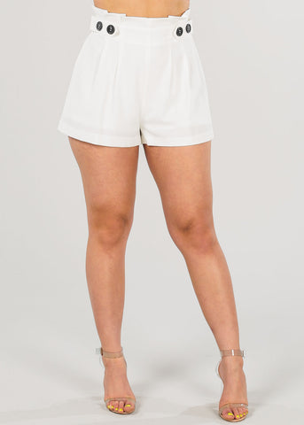 Image of Women's Junior Ladies High Rise Stylish Dressy Solid White Dressy Shorty Shorts
