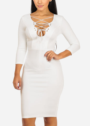 Image of Elegant Solid White  Midi Dress