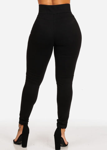 Black High Waisted Skinny Leg Pants