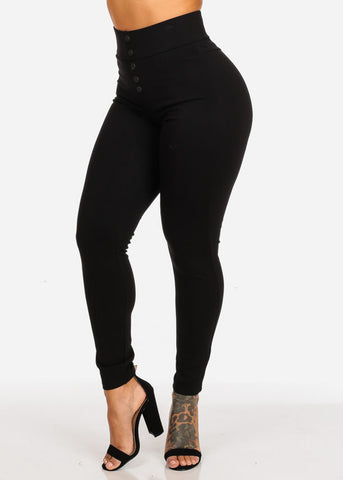 Image of Black High Waisted Skinny Leg Pants